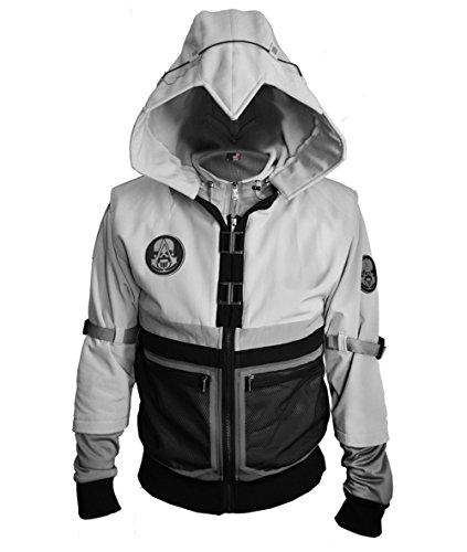 TISEA Unisex Hot Game Fashion Brotherhood Type Hoodie Jacket Coat (L, Light Grey Jacket with Vest)