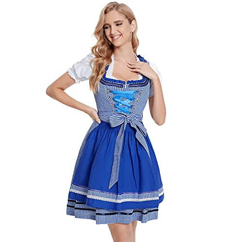 Vertvie Damen Midi Dirndl Kleid 3 TLG.Trachtenkleid Dirndl Midi Trachtenrock Kurz inkl. Kleid, Bluse, Schürze,Cosplay Baumwolle...