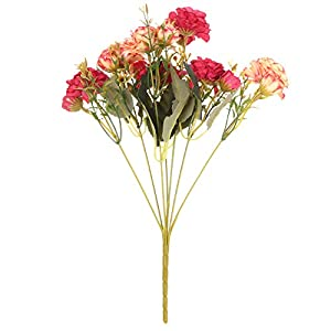 shanliren Artificial Flowers,7 Forks Beautiful Handmade Wedding Decor Bridal Bouquet Artificial Flowers Fake Rose Peony Silk Rhododendron(red)