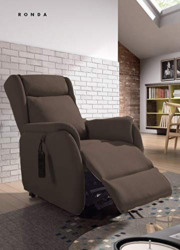 SHIITO - Sillón reclinable con reposapiés, Sillón Relax eléctrico 2 Motores, Sillón función Powerlift Modelo Ronda Color Marron