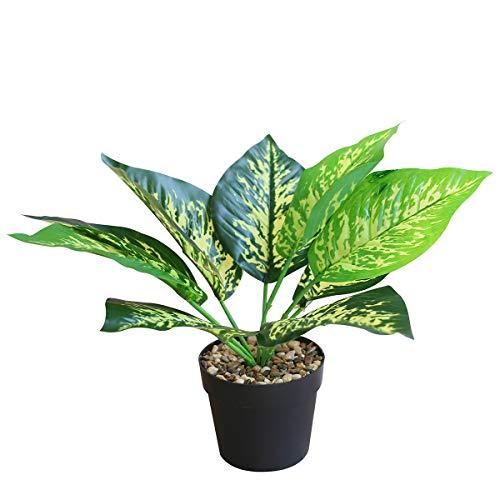 OTARTU Künstliche Kunstpflanzen im Topf, Dieffenbachia-Pflanzen für Zuhause, Büro, Schreibtisch, drinnen und draußen