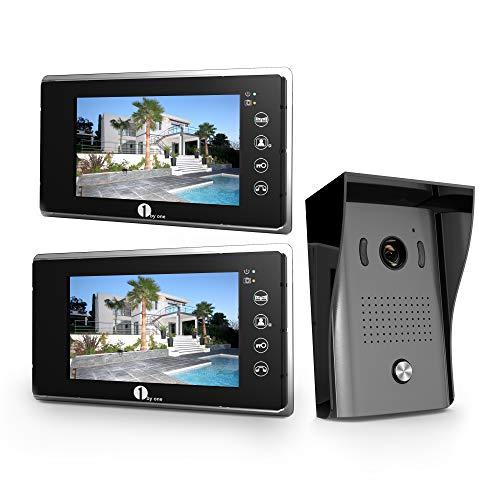 1Byone Visiophone Couleurs - 1 x Moniteur Ecran Vidéo 7-Pouce et caméra HD avec 125 cm de Câbles, 1 x Sonnette d'Extérieure...
