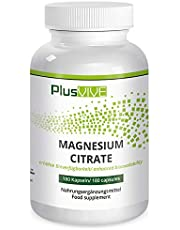 PlusVive - Magnesium citraat capsules - hoog gedoseerd met 750 mg magnesium citraat per capsule - 180 veganistische capsules - Made in Germany