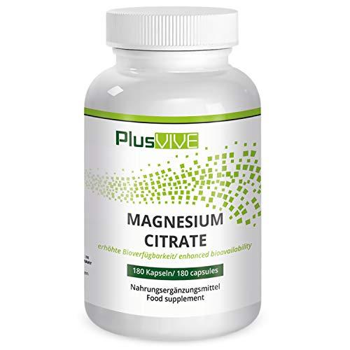 PlusVive - Magnesium Citrat Kapseln- hochdosiert mit 750 mg Magnesium Citrat pro Kapsel - 180 vegane Kapseln - Hergestellt in Deutschland