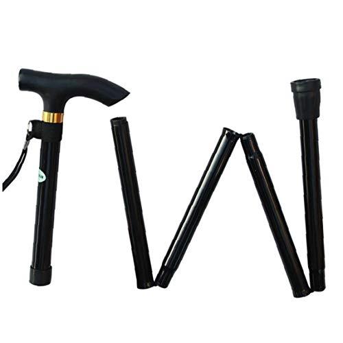 Sanfiyya Caminar trepar Postes alpenstocks bastón de Viaje muleta Plegable Ajustable palillo de la aleación de Aluminio Negro