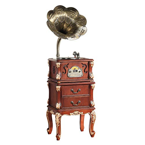 Vinyl Bluetooth Record Player, Retro Big Horn Antique Wooden Gramophone,with Table Stand, Vinyl Playback, CD Playback, Wireless Bluetooth, AF/AM Radio, U Disk Playback, for Office/Home Decor,A