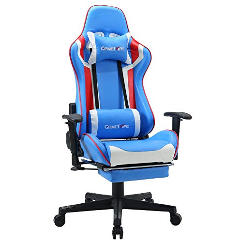 High Back PU Leather Swivel Gaming Chair with Adjustable Armrest Lumbar Support Headrest Footrest Video Game Chair Racing Office Chair Massage Chair (Blue White) blue chair gaming