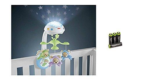 Fisher-Price CDN41 - 3-in-1 Traumbärchen Baby Mobile mit Halterung, Nachtlicht mit beruhigender Musik, White Noise und Sternenlicht Projektor & AmazonBasics Vorgeladene Ni-MH AA-Akkus 4 Stck