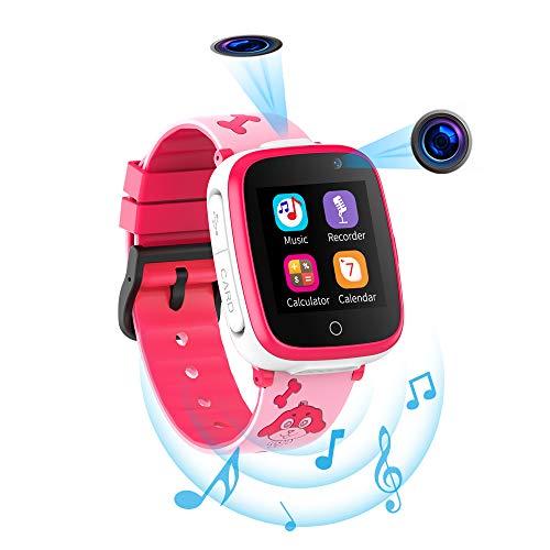 Reloj Inteligente para Niños con Juegos de Música - 1.54 Pantalla táctil en Color HD Cámara Dual SOS Relojes Inteligentes Llamadas Bidireccionales Despertador 4-12 años Cumpleaños de Estudiantes