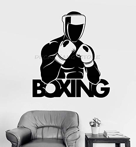 keletop Vinyl Wandtattoo Boxer Boxhandschuhe Sport Logo Aufkleber Boxing Gym Martial Arts Dekoration Wandaufkleber 57x64cm