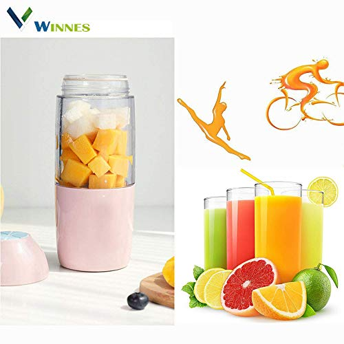 Portable Blender,Winnes Fruit Smoothie Blender baby food blender Personal blender,Juicer Cup,Mixer Juice,Detachable Cup, Best single serve blender Gifts For Women (Pink)