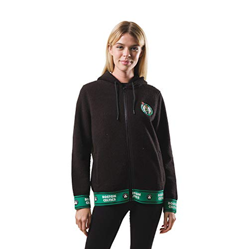 Ultra Game NBA Boston Celtics Womens Full Zip Sherpa Jersey Hoodie with Team Logo, Team Color, X-Large