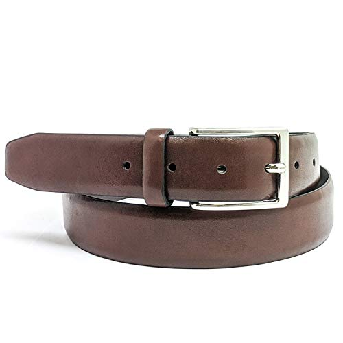 Mens Belt Burnished Vegan Leather Belt with Nickle Buckle, Anchor21 Abeam 35mm Width, Brown, Extra Large