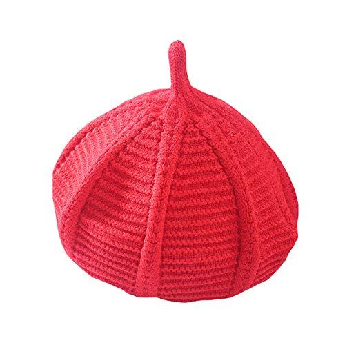 Kalaokei Sombrero De Calabaza De Punto De Lana, Boina Para Niños Y Niñas, Boina De Ganchillo De Punto De Color Sólido, Gorro De Invierno Acentuado, Gorro Para La Cabeza rojo