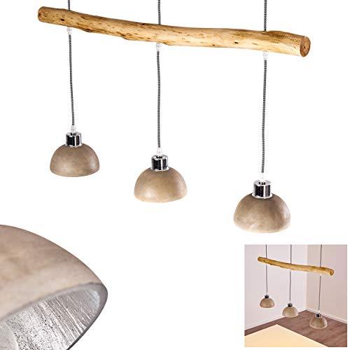 Pendelleuchte Ambri, Hängelampe aus Holz/Beton in Braun/Betonfarben, 3-flammig, 3 x E27 max. 40 Watt, Höhe max. 170 cm, Hängeleuchte für LED Leuchtmittel geeignet