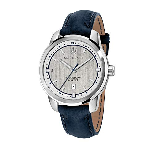 Maserati Herren Analog Quarz Uhr mit Leder Armband R8851121010