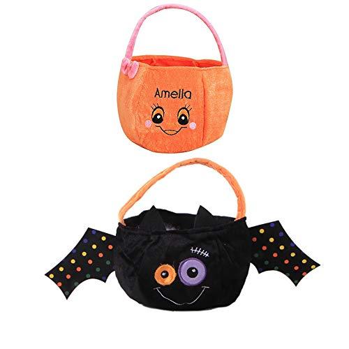 BJ-SHOP Halloween Subigkeiten Tasche, Trick or Treat Subigkeit Taschen 2 Pack Durable Kinder Kurbis Taschen Party Tragetaschen fur Kinder Kleinkinder Jungen Madchen