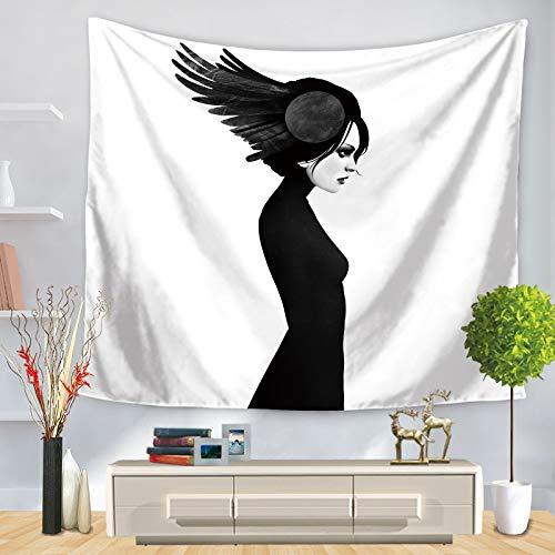 KHKJ Tapiz Blanco y Negro para una Sola niña, Estrellas, Luna, hogar, Colgar en la Pared, Estera de Yoga, Manta, Tela de Fondo para Cama A13, 200x150cm