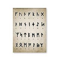 Suuyar ルーン文字アルファベットプリントアートオブディビネーションライティングマジックバイキング古ノルド語ヴィンテージポスターキャンバス絵画絵壁の装飾-50X70Cmフレームなし