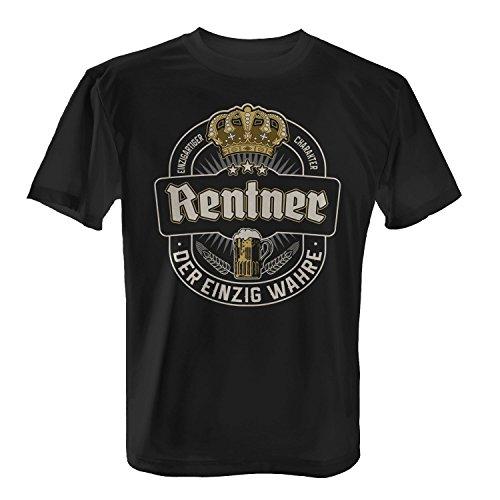 Fashionalarm Herren T-Shirt - Der einzig wahre Rentner | Fun Shirt mit Bier Etikett | Geschenk Idee Pensionär Rente Pension Kollege Arbeit Opa, Farbe:schwarz;Größe:4XL