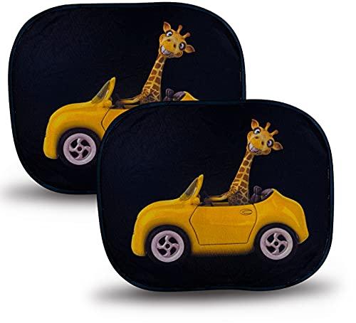 HECKBO Parasole Autoadesivo per Auto - Protezione dal Sole per Bambini [2 Pezzi] - Motivo: giraffa in auto - 44x36cm - Tendine Autoadesive per...