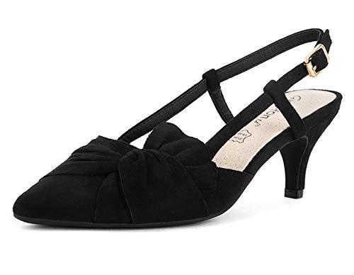 Greatonu Zapatos de Tacón Bajo Negro Elegante Clásico Popular de Boda y...