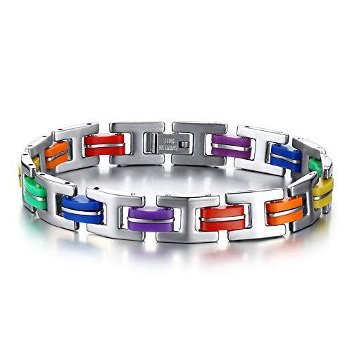 Nobrand Silicona 316L Acero Inoxidable Pulsera Hombres Brazalete Arco Iris Color Cierre LGBT Pulsera Gay Orgullo para Hombres Mujeres