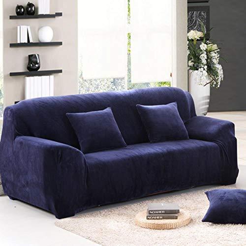 JIAYAN Funda de sofá elástica Gruesa de Felpa de Color sólido Funda Universal seccional Funda de sofá elástica de 1/2/3/4 plazas para Sala de Estar, Azul Marino, 2 plazas 145-185cm