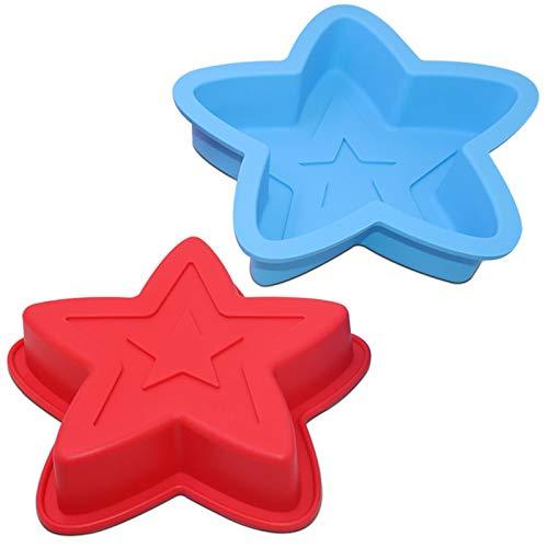 2 Packungen Star Shaped Backform, SourceTon Silikon Kuchenform Backform für DIY Kuchen Dekorationswerkzeuge - Rot, Blau