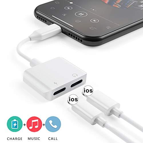 Adattatore per Cuffie per iPhone 7 Splitter AUX Jack Audio Adattatore per Auricolari da Auto Audio Carica Chiamata Controllo Volume Compatibile con iPhone Dongle 7 Plus/8/8Plus/X/Xs Max/XR e tutti iOS