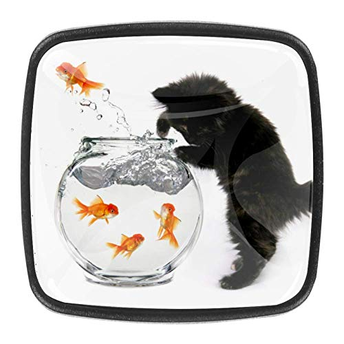 Yuzheng Pecera Goldfish Cat Perillas de gabinete cuadradas de Cristal de 4...