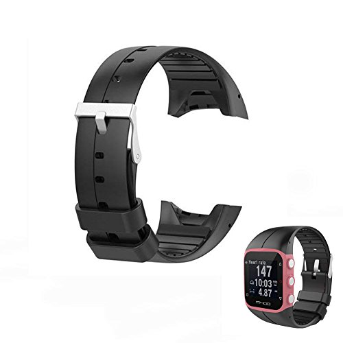 Hensych Cinturino di ricambio per orologio sportivo Polar M400 M430 GPS Running Watch, Nero