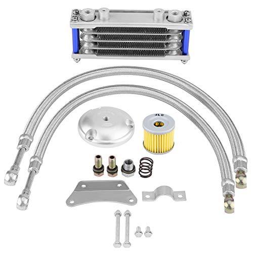 Akozon Motocicleta Enfriador de aceite Motor Radiador de enfriamiento de aceite Kit de sistema para 125CC 150CC 200CC (65ml)