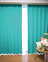 【24色】ソリッド1級遮光カーテン&レースカーテン4枚セット (幅100cm×丈185cm(4枚), アクアマリン)