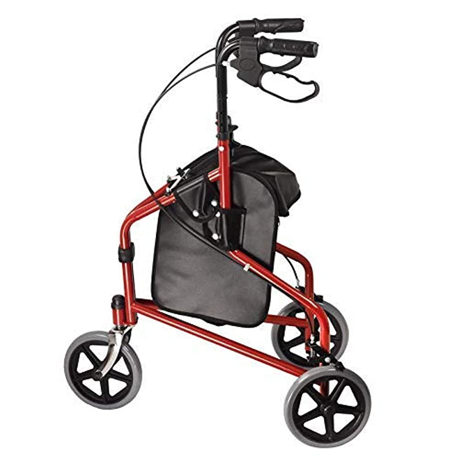 Dr. Franklyn's 3-Wheel Rollator with Pouch - Lightweight Medical Walker w/Comfort Handles for Mobility & Transport Aid – Ideal for Elderly & Handicap (Burgundy)