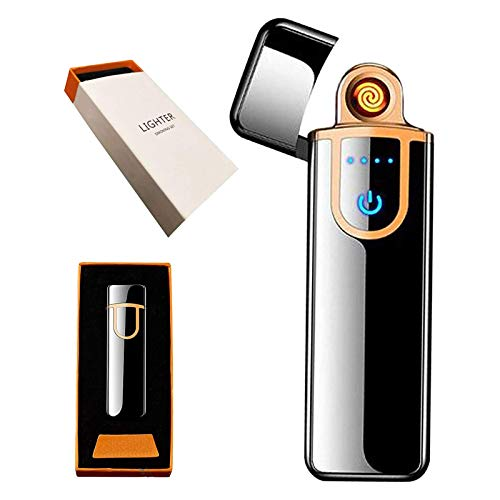 Electric Lighter, Smart Electronic Lighter, USB Rechargeable Lighter Windproof Flameless Lighter Plasma Lighter for Fire,BBQs,Fireworks ,Candle,Camping - Outdoors Indoors (Pure Black)