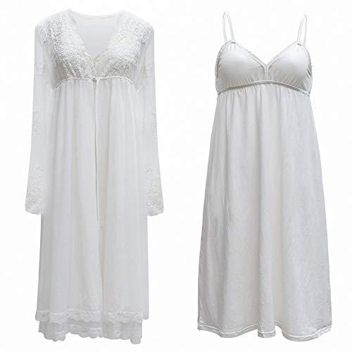 OCCIENTEC - Camicia da notte da donna in pizzo bianco, stile vittoriano vintage, a maniche lunghe, stile casual, per la casa, da donna Pizzo Bianco stile G XL