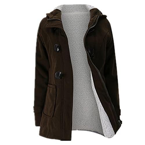 NP Chaqueta abrigo invierno mujer con capucha lana mezcla praka clásico cuerno