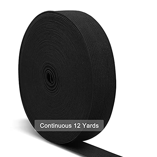 Black Elastic Bands for Sewing 1 Inch, Hengiee Braided Elastic for Wigs, Waistband, Skirt, Pants, Headband, Bed Sheets, Kids Clothes, Craft DIY Projects 12 Yard