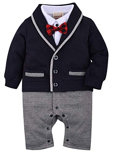 ZOEREA Baby Boys Romper Suits Bow Tie Baptism Wedding Tuxedo Jumpsuit Cotton, Navy, Label 60/Age 3-6 Months