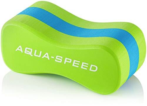 Aqua Speed Pull Buoy Schwimmhilfe | Geschwungenes Design | 3 Schichten | Schwimmtraining | Eva-Schaum, Farbe:Green - Blue - Green