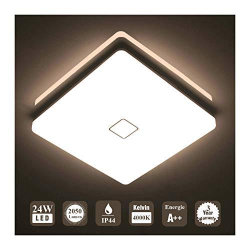 Öuesen 24W wasserdichte LED Deckenleuchte moderne schlanke quadratische LED Deckenleuchte 2050lm Naturweiß 4000K Anwendbar auf das Badezimmer, das Schlafzimmer, die Küche, das Wohnzimmer, den Balkon und den Flur