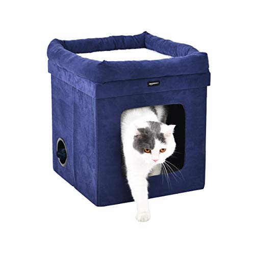 AmazonBasics Collapsible Cube Cat Bed - 15 x 15 x 17 Inches, Blue