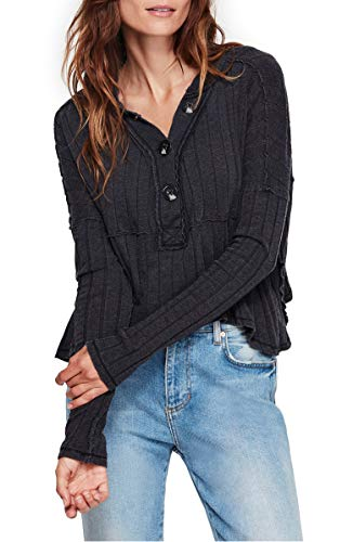 Free People in The Mix Long Sleeve Black MD (Women's 8-10)