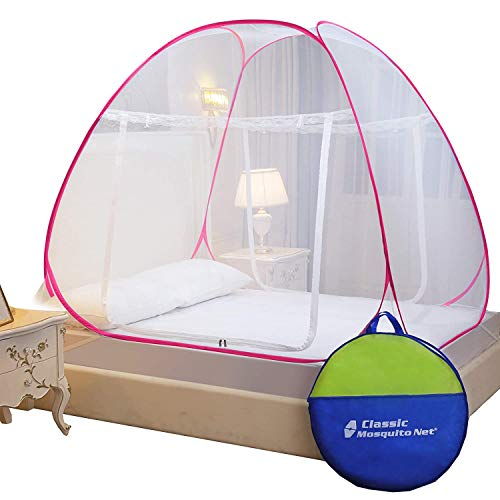 Classic Mosquito Net, Double Bed King Size Bed, Polyester Foldable - Pink