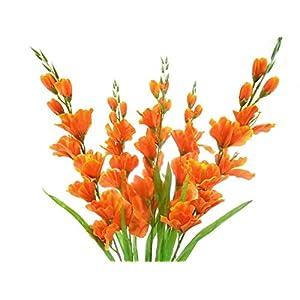 26″ Bouquet Orange Gladiolus Bush Artificial Silk Flowers LivePlant