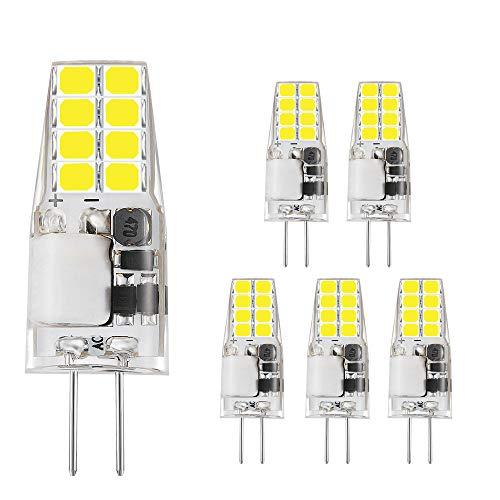 Bogao Bombillas LED G4, 3W, equivalentes a bombillas halógenas de 20-30 W, lámparas de bombilla de cristal, CA/CC 12V, blanco (6000 K, 6 piezas)