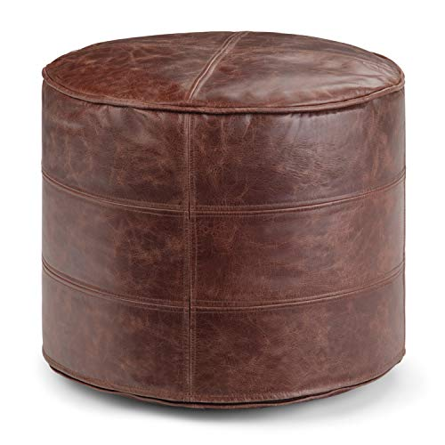 Simpli Home Connor Transitional Round Pouf in Distressed Brown Leather
