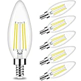 Candelabra LED Bulb, E12 Small Light Bulbs 5000K Daylight Dimmable - 60W Equivalent Ceiling Fan Bulbs Type B Edison Filament Candle Bulbs,Honesorn C35 B11 Clear Glass Chandelier Bulbs 600LM,Pack of 6