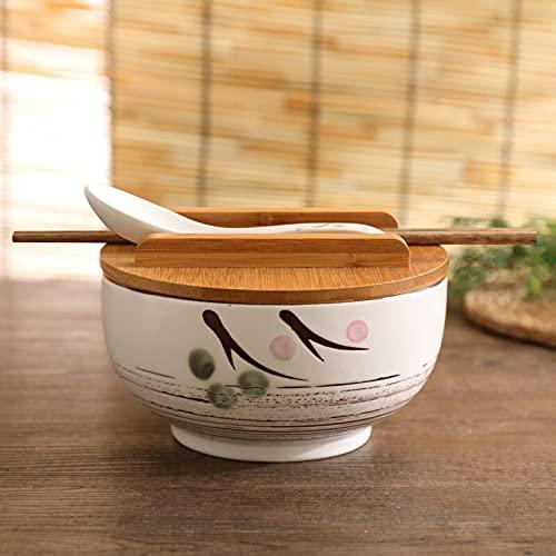 Vajilla Platos Platos para ensalada Cuenco de fideos de arroz con tapa cuchara y palillos vajilla de cocina cuenco de cerámica para ensaladas y sopa recipiente para alimentos vajilla